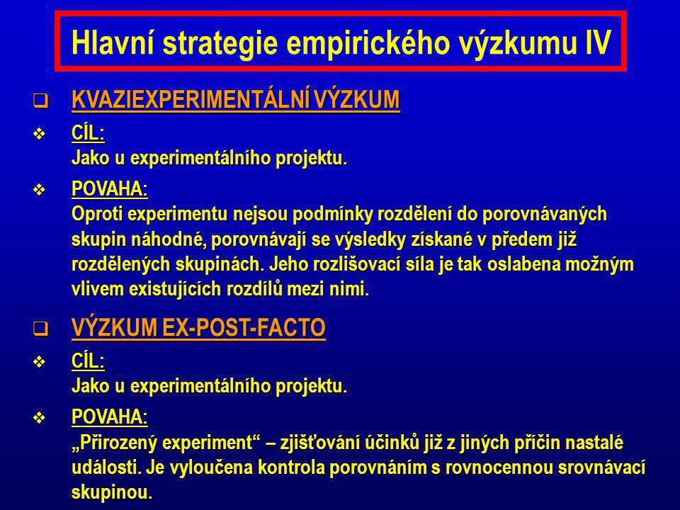 Hlavní strategie empirického výzkumu IV  KVAZIEXPERIMENTÁLNÍ VÝZKUM  CÍL: Jako u experimentálního projektu.  POVAHA: Oproti experimentu nejsou podm