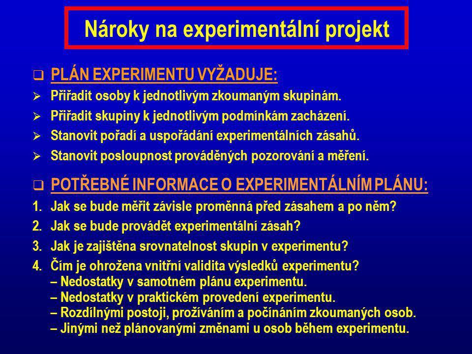 Nároky na experimentální projekt  PLÁN EXPERIMENTU VYŽADUJE:  Přiřadit osoby k jednotlivým zkoumaným skupinám.  Přiřadit skupiny k jednotlivým podm