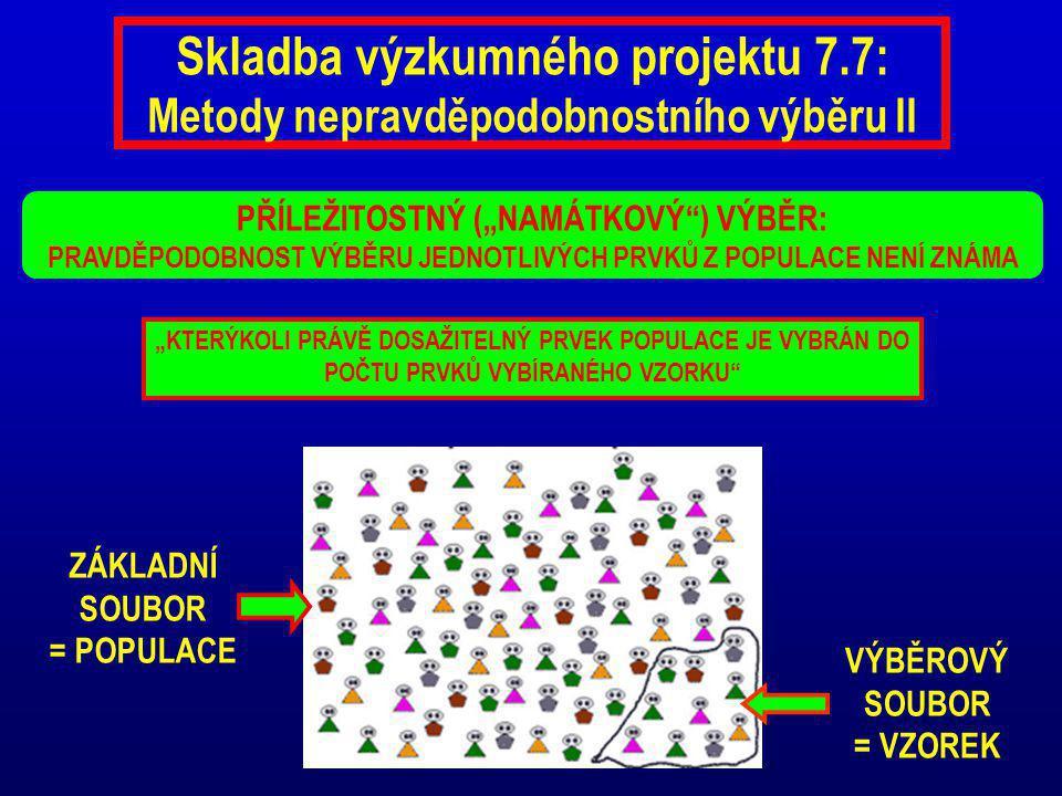 """Skladba výzkumného projektu 7.7: Metody nepravděpodobnostního výběru II PŘÍLEŽITOSTNÝ (""""NAMÁTKOVÝ ) VÝBĚR: PRAVDĚPODOBNOST VÝBĚRU JEDNOTLIVÝCH PRVKŮ Z POPULACE NENÍ ZNÁMA ZÁKLADNÍ SOUBOR = POPULACE VÝBĚROVÝ SOUBOR = VZOREK """"KTERÝKOLI PRÁVĚ DOSAŽITELNÝ PRVEK POPULACE JE VYBRÁN DO POČTU PRVKŮ VYBÍRANÉHO VZORKU"""