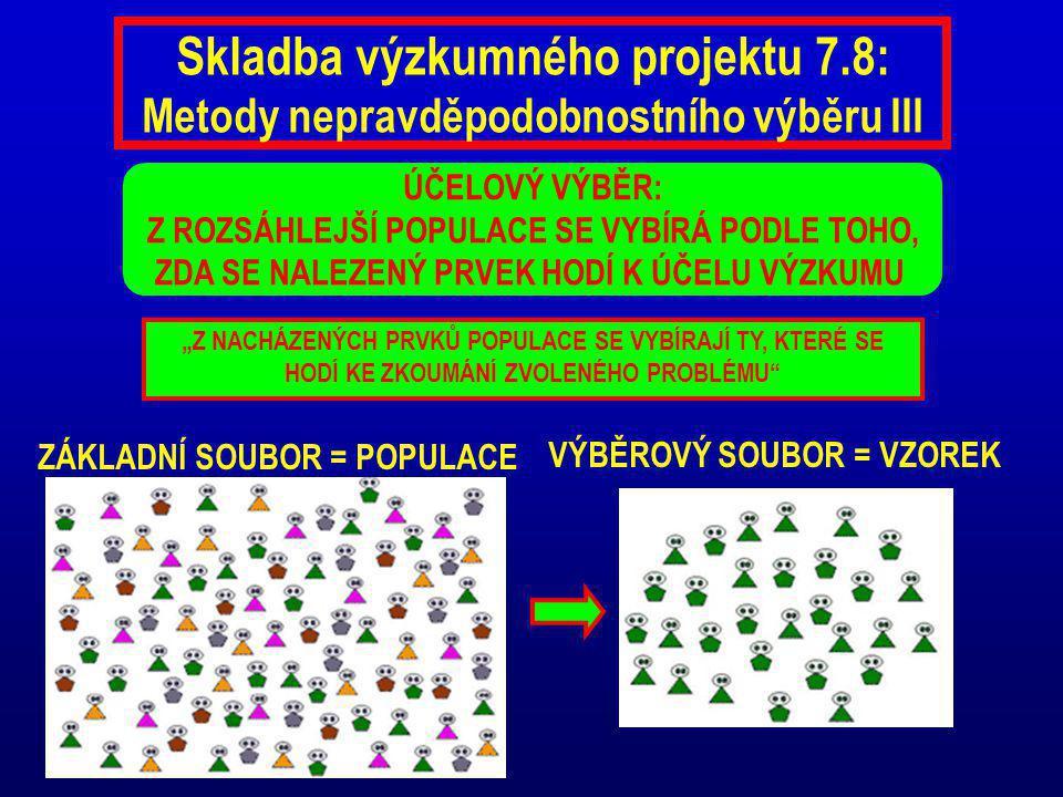 """Skladba výzkumného projektu 7.8: Metody nepravděpodobnostního výběru III ÚČELOVÝ VÝBĚR: Z ROZSÁHLEJŠÍ POPULACE SE VYBÍRÁ PODLE TOHO, ZDA SE NALEZENÝ PRVEK HODÍ K ÚČELU VÝZKUMU ZÁKLADNÍ SOUBOR = POPULACE VÝBĚROVÝ SOUBOR = VZOREK """"Z NACHÁZENÝCH PRVKŮ POPULACE SE VYBÍRAJÍ TY, KTERÉ SE HODÍ KE ZKOUMÁNÍ ZVOLENÉHO PROBLÉMU"""