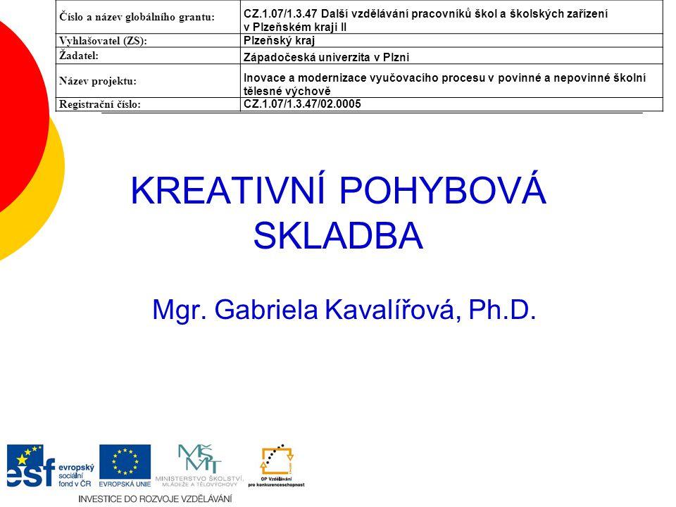 KREATIVNÍ POHYBOVÁ SKLADBA Mgr.Gabriela Kavalířová, Ph.D.