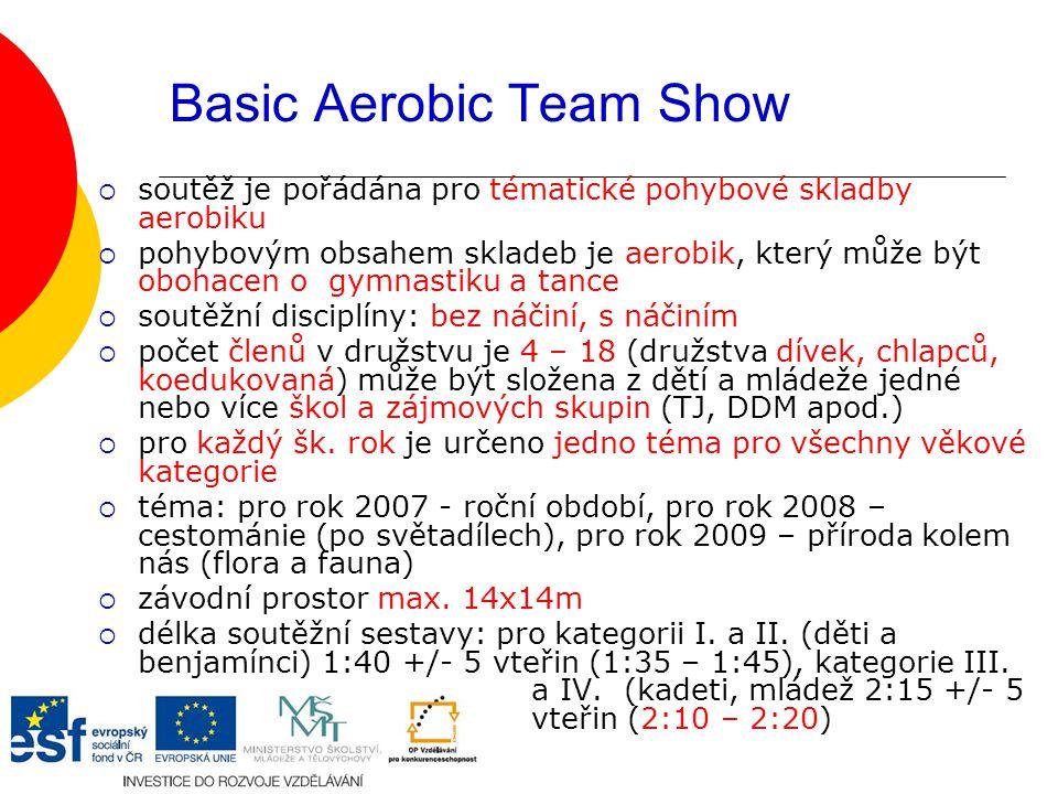 Basic Aerobic Team Show  soutěž je pořádána pro tématické pohybové skladby aerobiku  pohybovým obsahem skladeb je aerobik, který může být obohacen o gymnastiku a tance  soutěžní disciplíny: bez náčiní, s náčiním  počet členů v družstvu je 4 – 18 (družstva dívek, chlapců, koedukovaná) může být složena z dětí a mládeže jedné nebo více škol a zájmových skupin (TJ, DDM apod.)  pro každý šk.