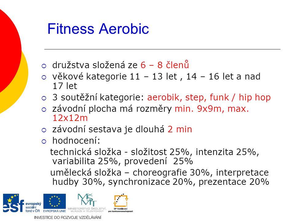 Fitness Aerobic  družstva složená ze 6 – 8 členů  věkové kategorie 11 – 13 let, 14 – 16 let a nad 17 let  3 soutěžní kategorie: aerobik, step, funk / hip hop  závodní plocha má rozměry min.