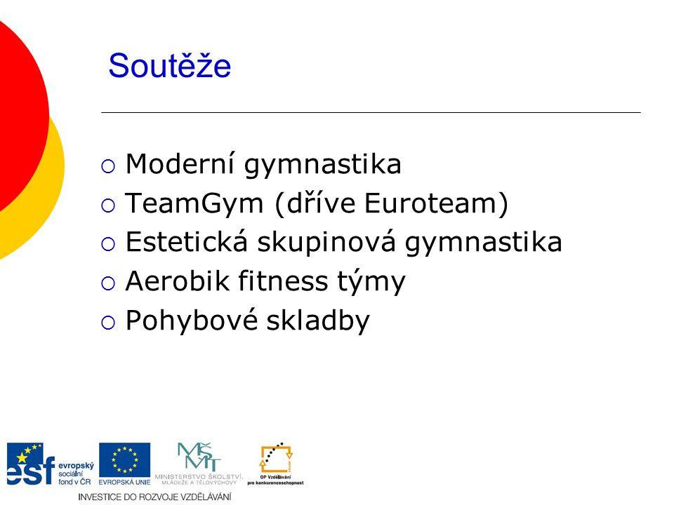 Soutěže  Moderní gymnastika  TeamGym (dříve Euroteam)  Estetická skupinová gymnastika  Aerobik fitness týmy  Pohybové skladby