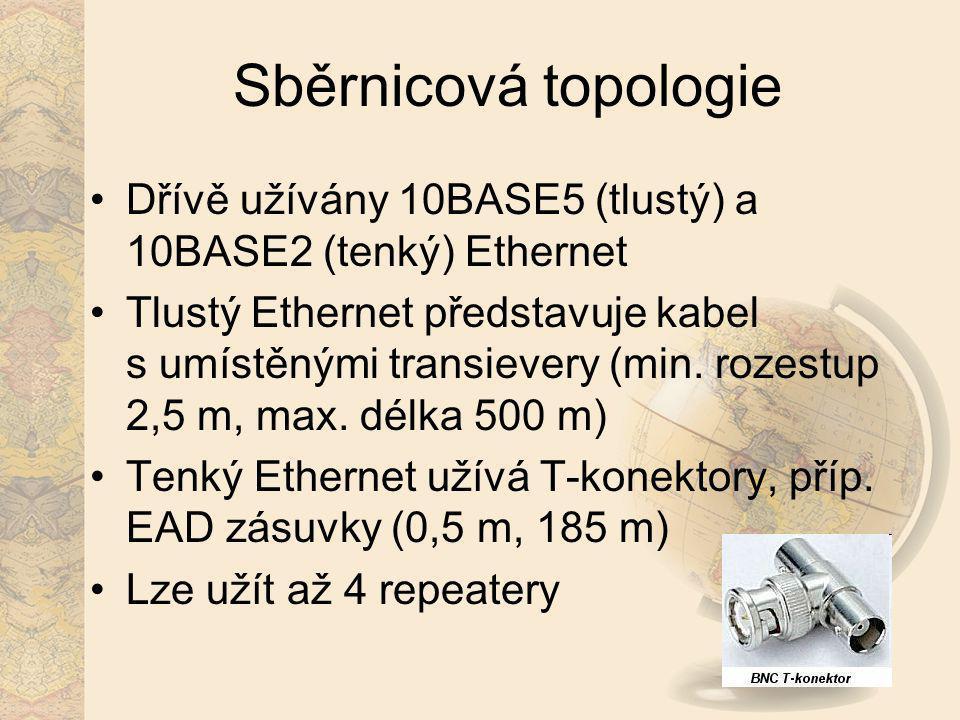 Sběrnicová topologie Dřívě užívány 10BASE5 (tlustý) a 10BASE2 (tenký) Ethernet Tlustý Ethernet představuje kabel s umístěnými transievery (min. rozest