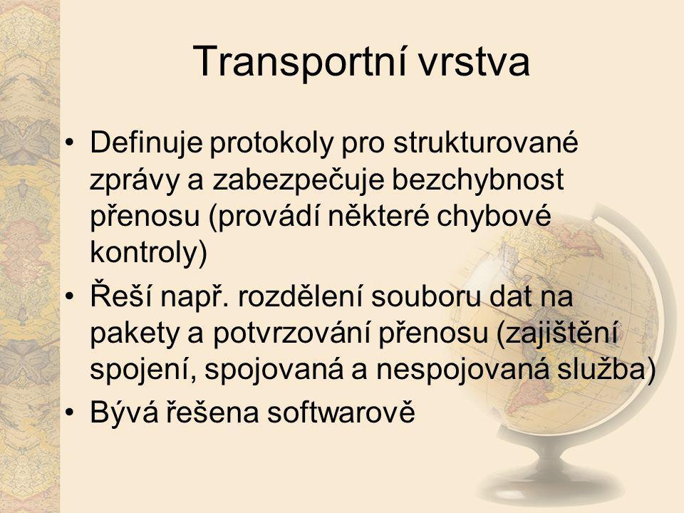 Transportní vrstva Definuje protokoly pro strukturované zprávy a zabezpečuje bezchybnost přenosu (provádí některé chybové kontroly) Řeší např. rozděle