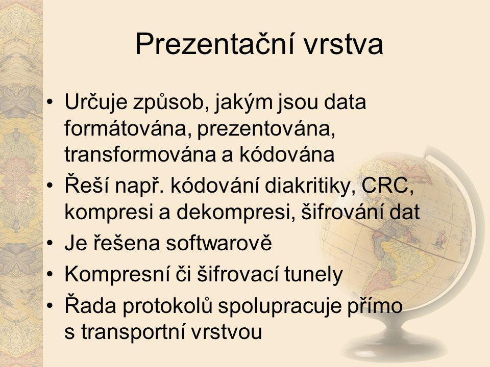 Prezentační vrstva Určuje způsob, jakým jsou data formátována, prezentována, transformována a kódována Řeší např. kódování diakritiky, CRC, kompresi a