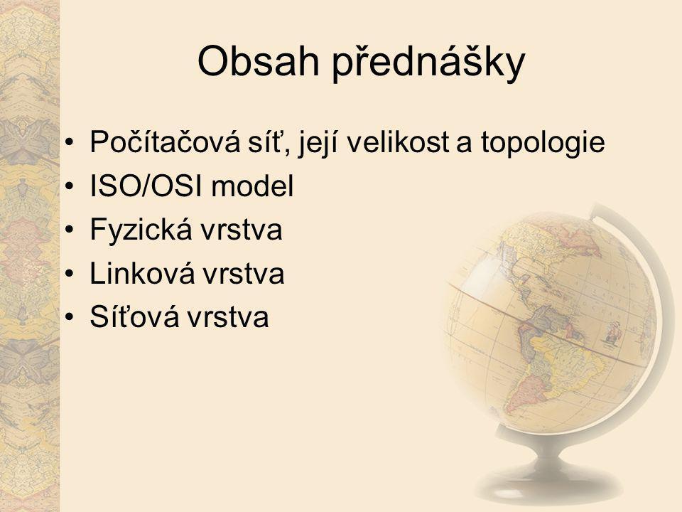 Obsah přednášky Počítačová síť, její velikost a topologie ISO/OSI model Fyzická vrstva Linková vrstva Síťová vrstva
