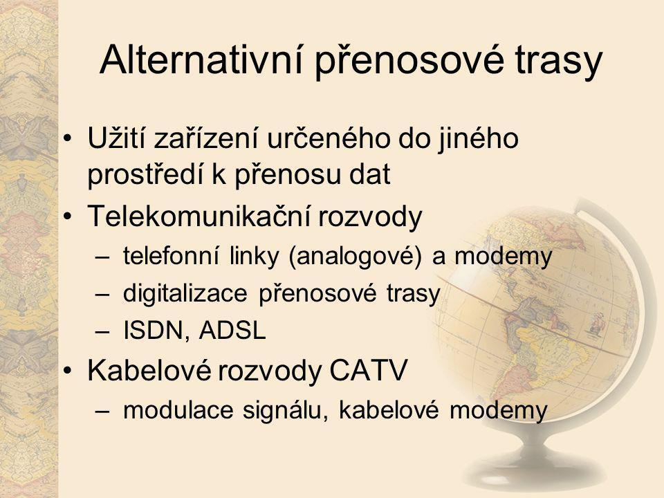 Alternativní přenosové trasy Užití zařízení určeného do jiného prostředí k přenosu dat Telekomunikační rozvody – telefonní linky (analogové) a modemy