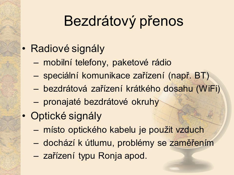 Bezdrátový přenos Radiové signály – mobilní telefony, paketové rádio – speciální komunikace zařízení (např. BT) – bezdrátová zařízení krátkého dosahu