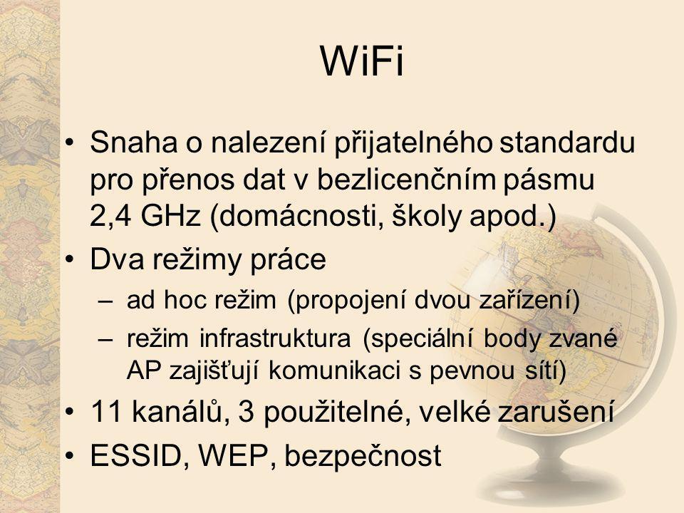 WiFi Snaha o nalezení přijatelného standardu pro přenos dat v bezlicenčním pásmu 2,4 GHz (domácnosti, školy apod.) Dva režimy práce – ad hoc režim (pr