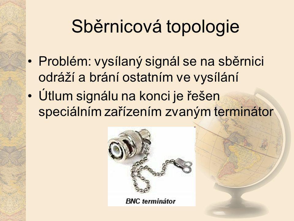Sběrnicová topologie Problém: vysílaný signál se na sběrnici odráží a brání ostatním ve vysílání Útlum signálu na konci je řešen speciálním zařízením