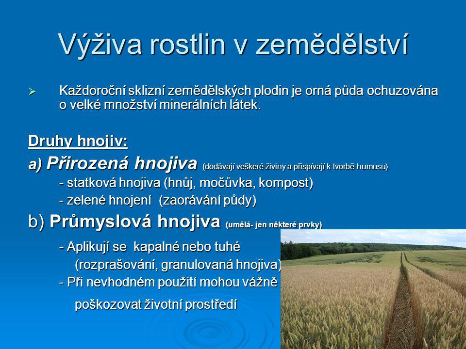 Výživa rostlin v zemědělství  Každoroční sklizní zemědělských plodin je orná půda ochuzována o velké množství minerálních látek. Druhy hnojiv: a) Při