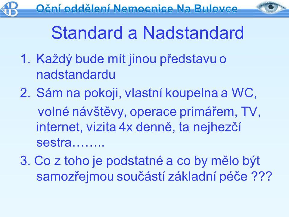 Standard a Nadstandard 1.Každý bude mít jinou představu o nadstandardu 2.Sám na pokoji, vlastní koupelna a WC, volné návštěvy, operace primářem, TV, i