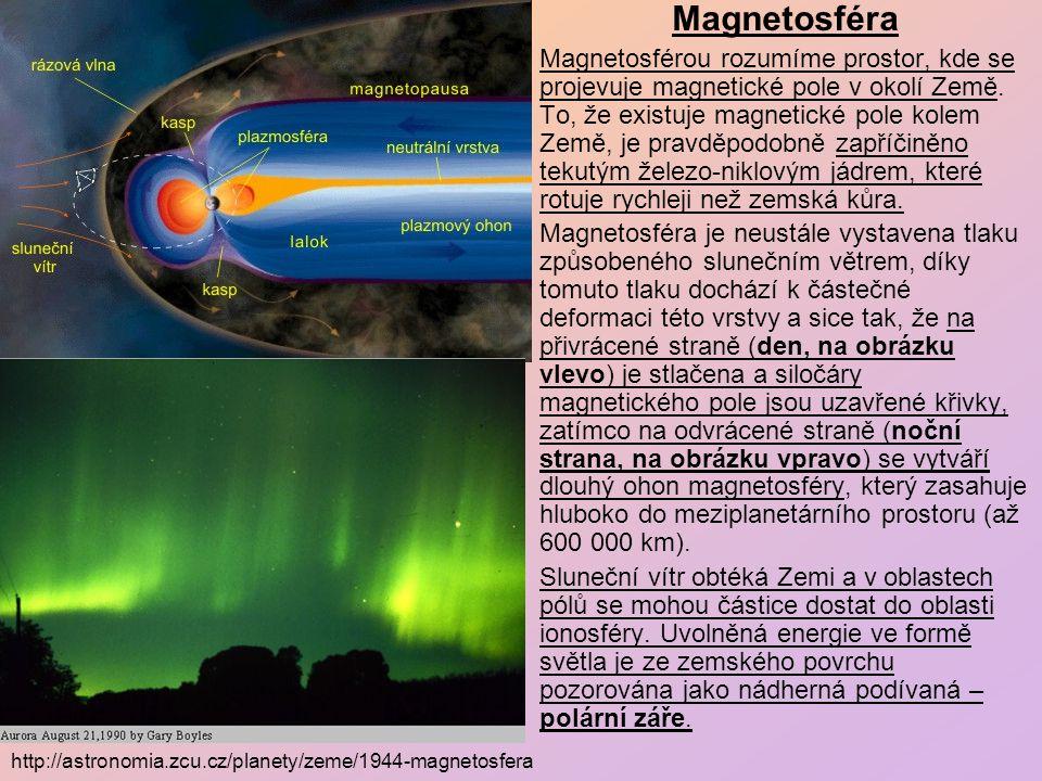 Magnetosféra Magnetosférou rozumíme prostor, kde se projevuje magnetické pole v okolí Země.