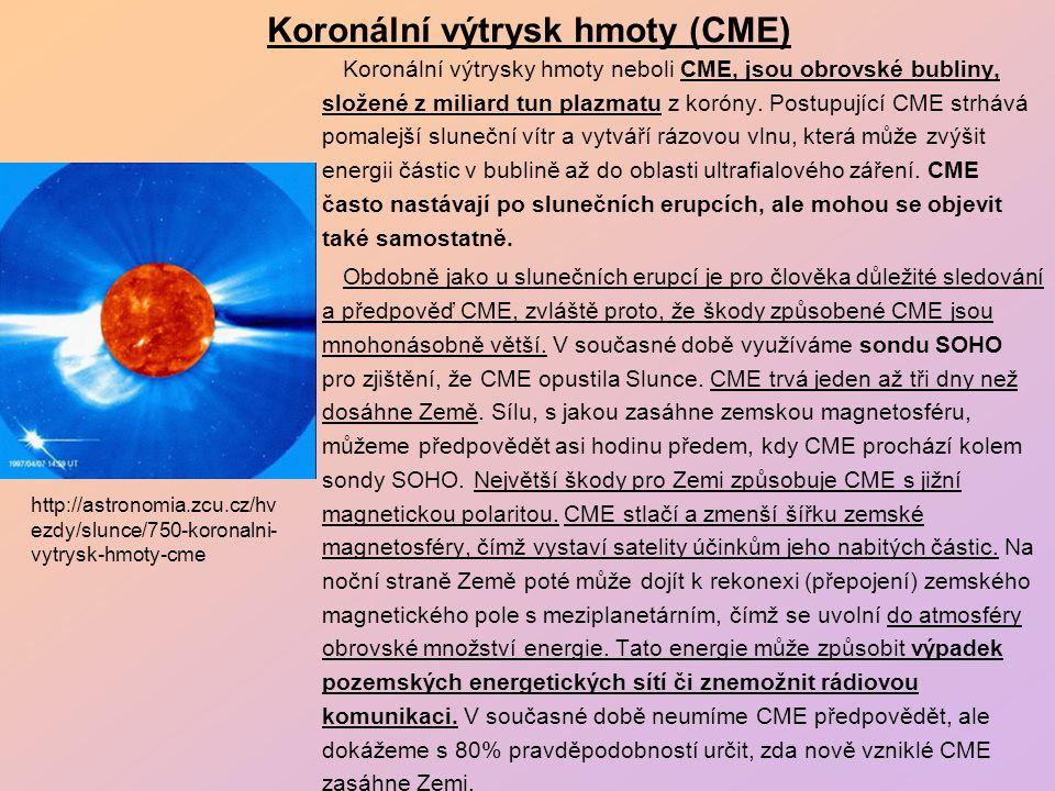 Koronální výtrysk hmoty (CME) Koronální výtrysky hmoty neboli CME, jsou obrovské bubliny, složené z miliard tun plazmatu z koróny.