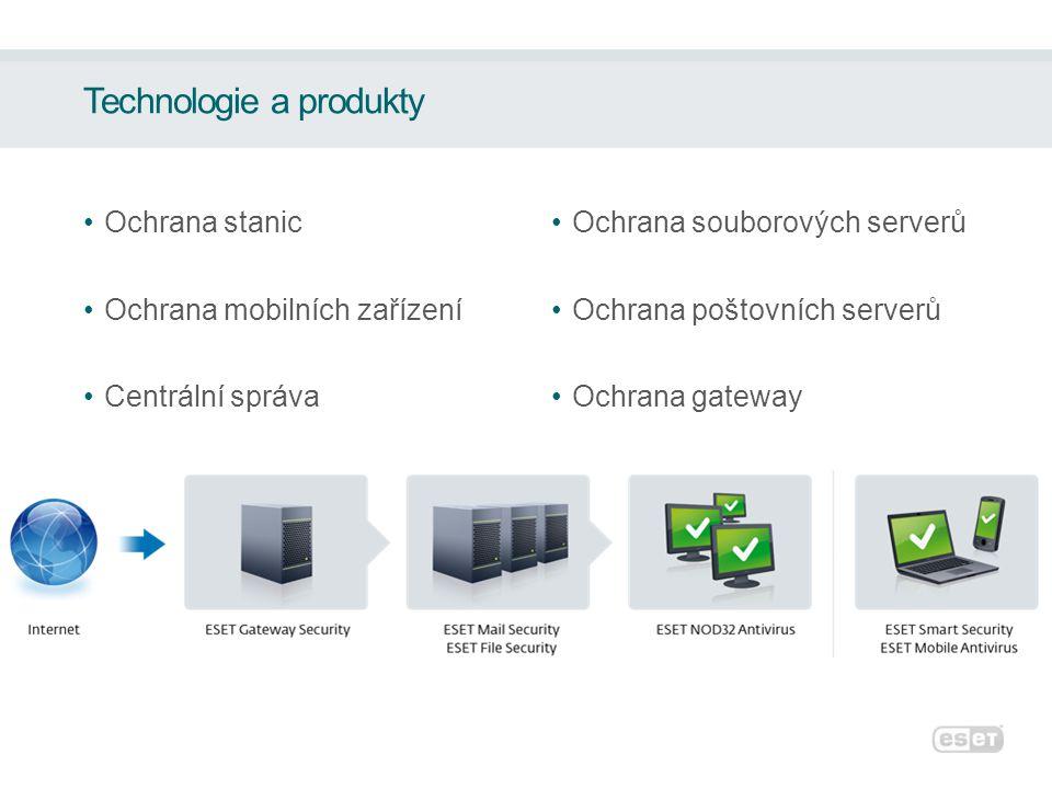 Technologie a produkty Ochrana stanic Ochrana mobilních zařízení Centrální správa Ochrana souborových serverů Ochrana poštovních serverů Ochrana gatew