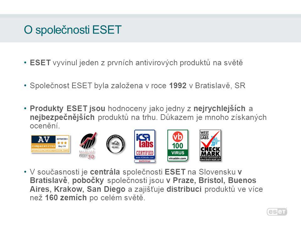 O společnosti ESET ESET vyvinul jeden z prvních antivirových produktů na světě Společnost ESET byla založena v roce 1992 v Bratislavě, SR Produkty ESE