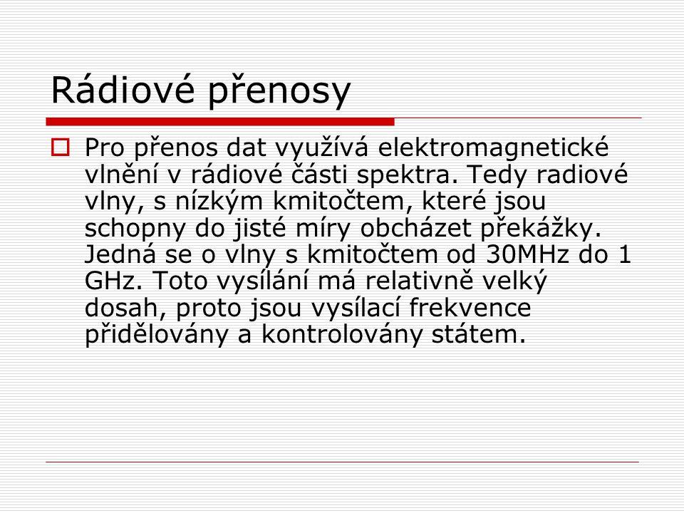 Rádiové přenosy  Pro přenos dat využívá elektromagnetické vlnění v rádiové části spektra.