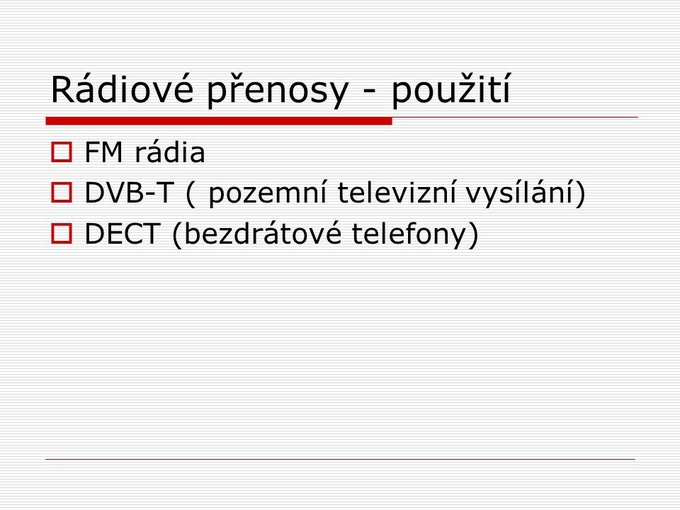 Rádiové přenosy - použití  FM rádia  DVB-T ( pozemní televizní vysílání)  DECT (bezdrátové telefony)