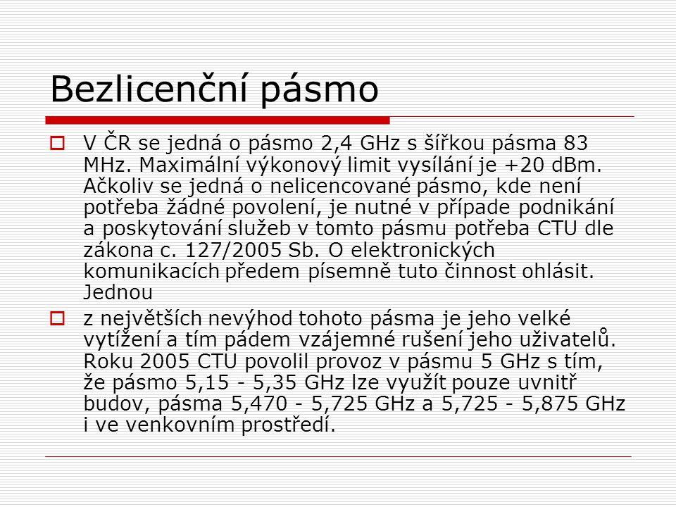 Bezlicenční pásmo  V ČR se jedná o pásmo 2,4 GHz s šířkou pásma 83 MHz.