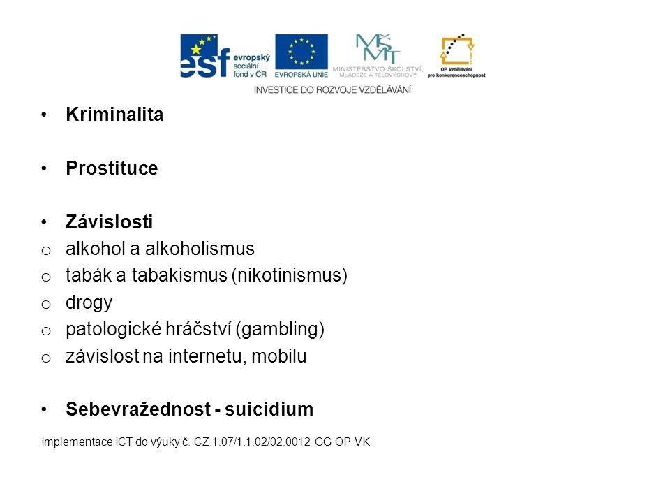 Kriminalita Prostituce Závislosti o alkohol a alkoholismus o tabák a tabakismus (nikotinismus) o drogy o patologické hráčství (gambling) o závislost na internetu, mobilu Sebevražednost - suicidium Implementace ICT do výuky č.
