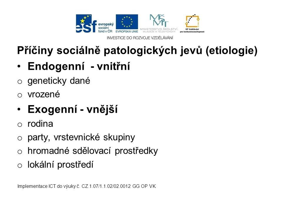 Příčiny sociálně patologických jevů (etiologie) Endogenní - vnitřní o geneticky dané o vrozené Exogenní - vnější o rodina o party, vrstevnické skupiny o hromadné sdělovací prostředky o lokální prostředí Implementace ICT do výuky č.