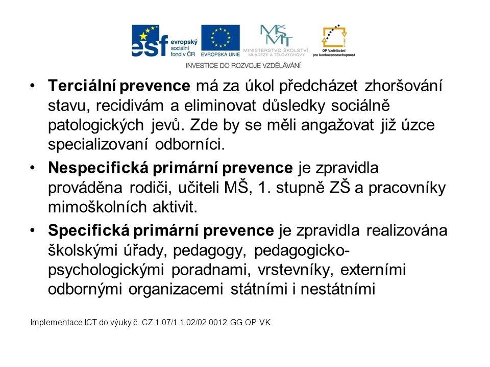 Terciální prevence má za úkol předcházet zhoršování stavu, recidivám a eliminovat důsledky sociálně patologických jevů.