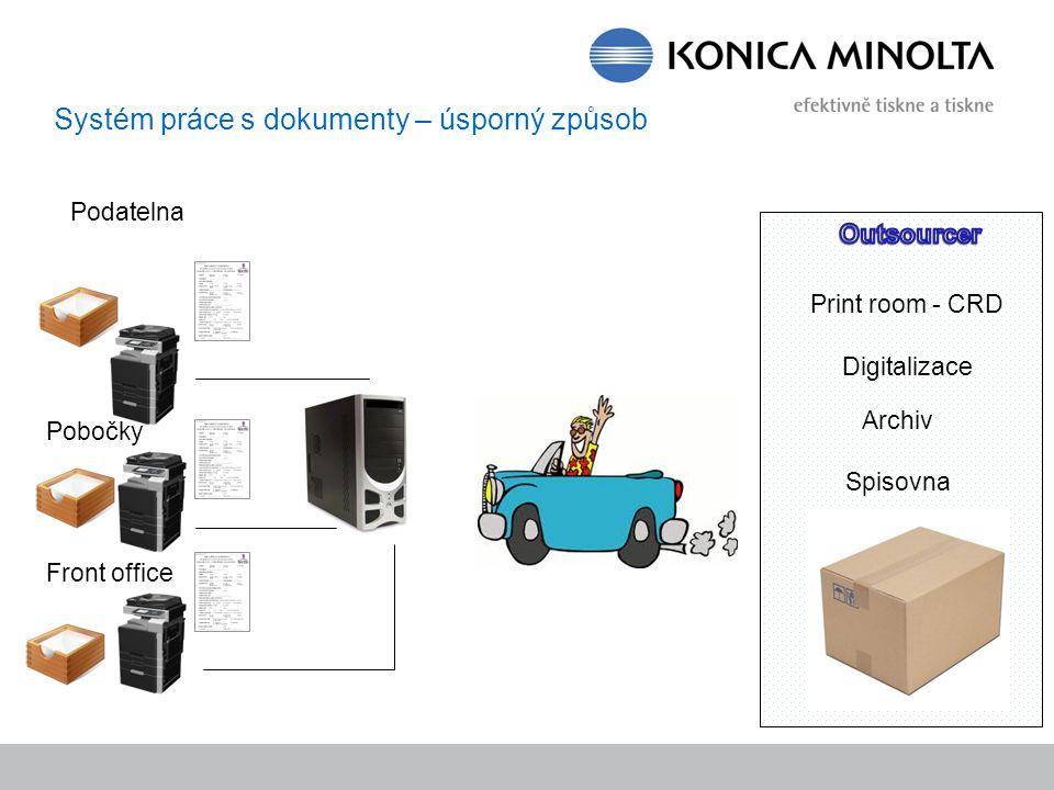 Systém práce s dokumenty – úsporný způsob Print room - CRD Podatelna Pobočky Front office Digitalizace Archiv Spisovna