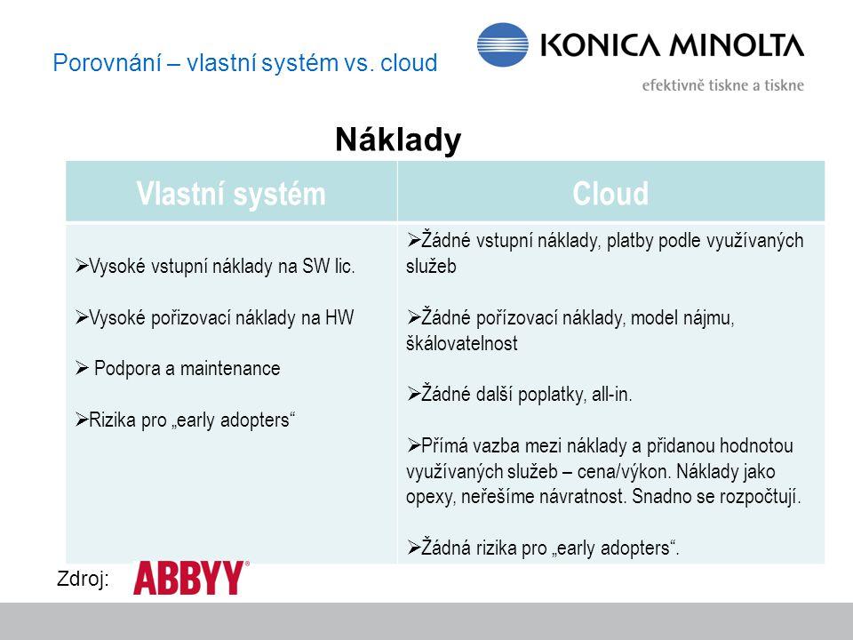 Porovnání – vlastní systém vs. cloud Vlastní systémCloud  Vysoké vstupní náklady na SW lic.