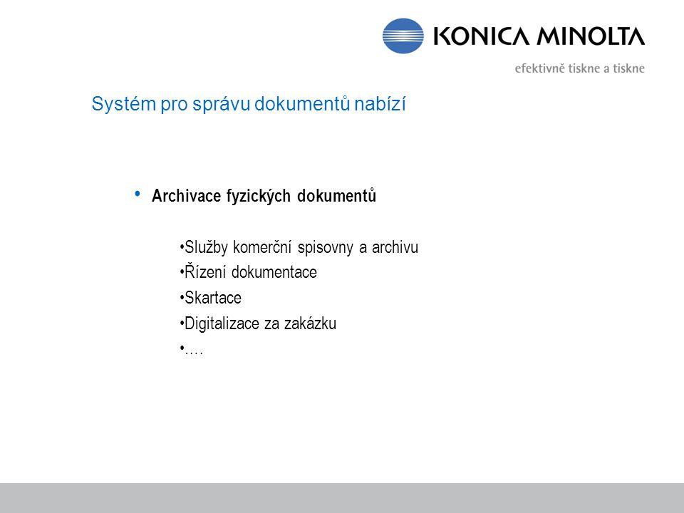 Systém pro správu dokumentů nabízí Archivace fyzických dokumentů Služby komerční spisovny a archivu Řízení dokumentace Skartace Digitalizace za zakázku ….