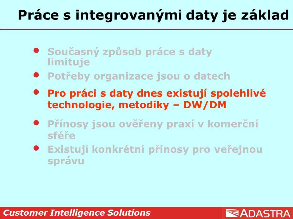 Customer Intelligence Solutions Práce s integrovanými daty je základ Současný způsob práce s daty limituje Potřeby organizace jsou o datech Pro práci s daty dnes existují spolehlivé technologie, metodiky – DW/DM Přínosy jsou ověřeny praxí v komerční sféře Existují konkrétní přínosy pro veřejnou správu Pro práci s daty dnes existují spolehlivé technologie, metodiky – DW/DM