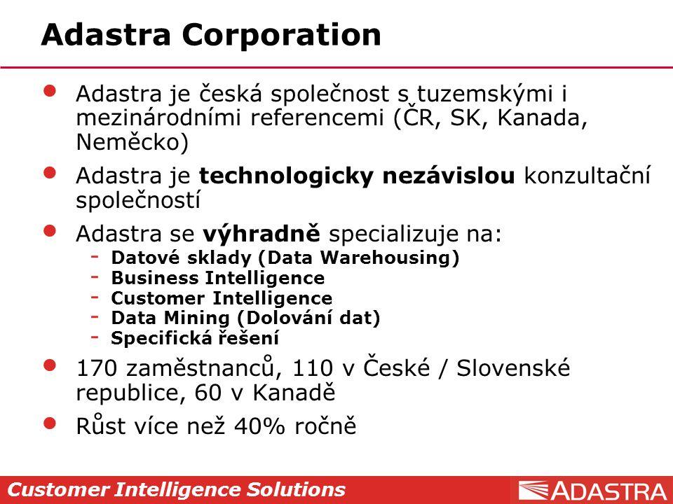 Customer Intelligence Solutions Adastra Corporation Adastra je česká společnost s tuzemskými i mezinárodními referencemi (ČR, SK, Kanada, Neměcko) Adastra je technologicky nezávislou konzultační společností Adastra se výhradně specializuje na:  Datové sklady (Data Warehousing)  Business Intelligence  Customer Intelligence  Data Mining (Dolování dat)  Specifická řešení 170 zaměstnanců, 110 v České / Slovenské republice, 60 v Kanadě Růst více než 40% ročně