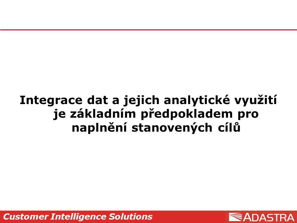 Customer Intelligence Solutions Integrace dat a jejich analytické využití je základním předpokladem pro naplnění stanovených cílů