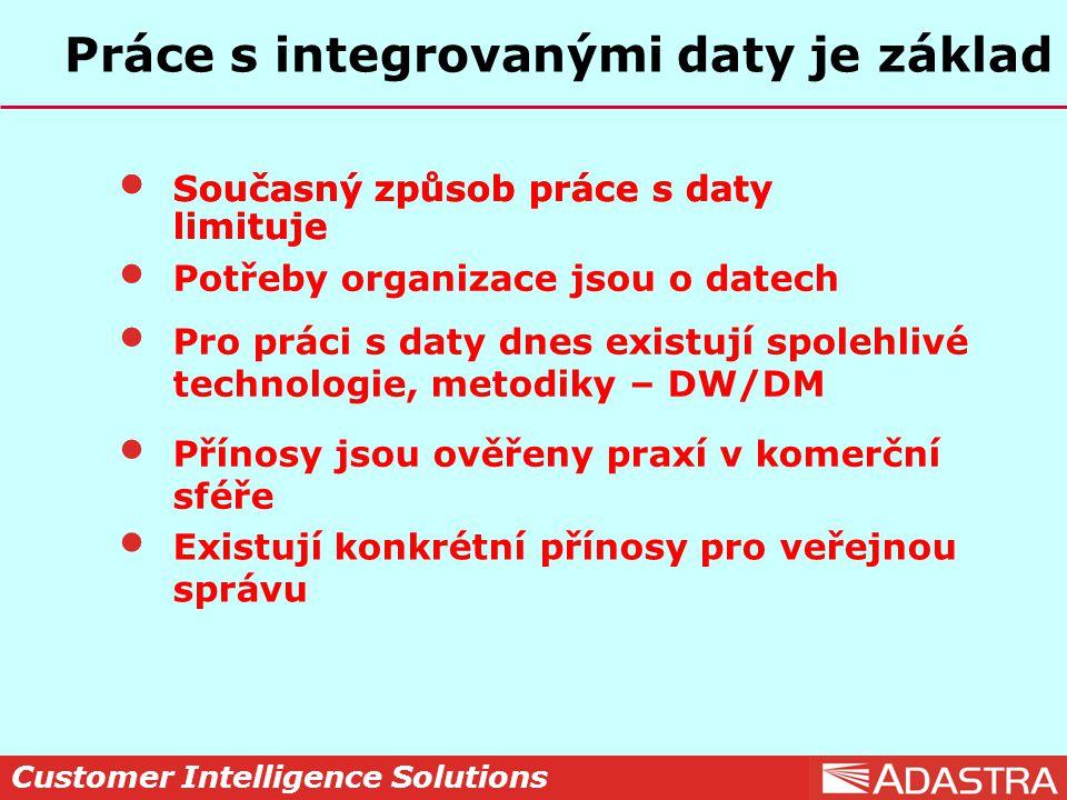 Customer Intelligence Solutions Práce s integrovanými daty je základ Současný způsob práce s daty limituje Potřeby organizace jsou o datech Pro práci s daty dnes existují spolehlivé technologie, metodiky – DW/DM Přínosy jsou ověřeny praxí v komerční sféře Existují konkrétní přínosy pro veřejnou správu Současný způsob práce s daty limituje