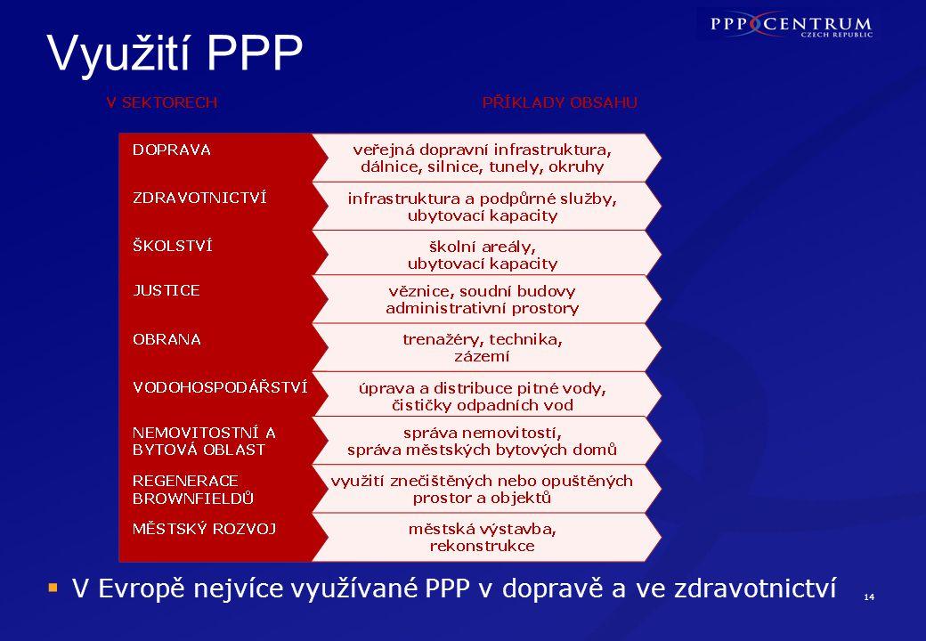 14 Využití PPP  V Evropě nejvíce využívané PPP v dopravě a ve zdravotnictví