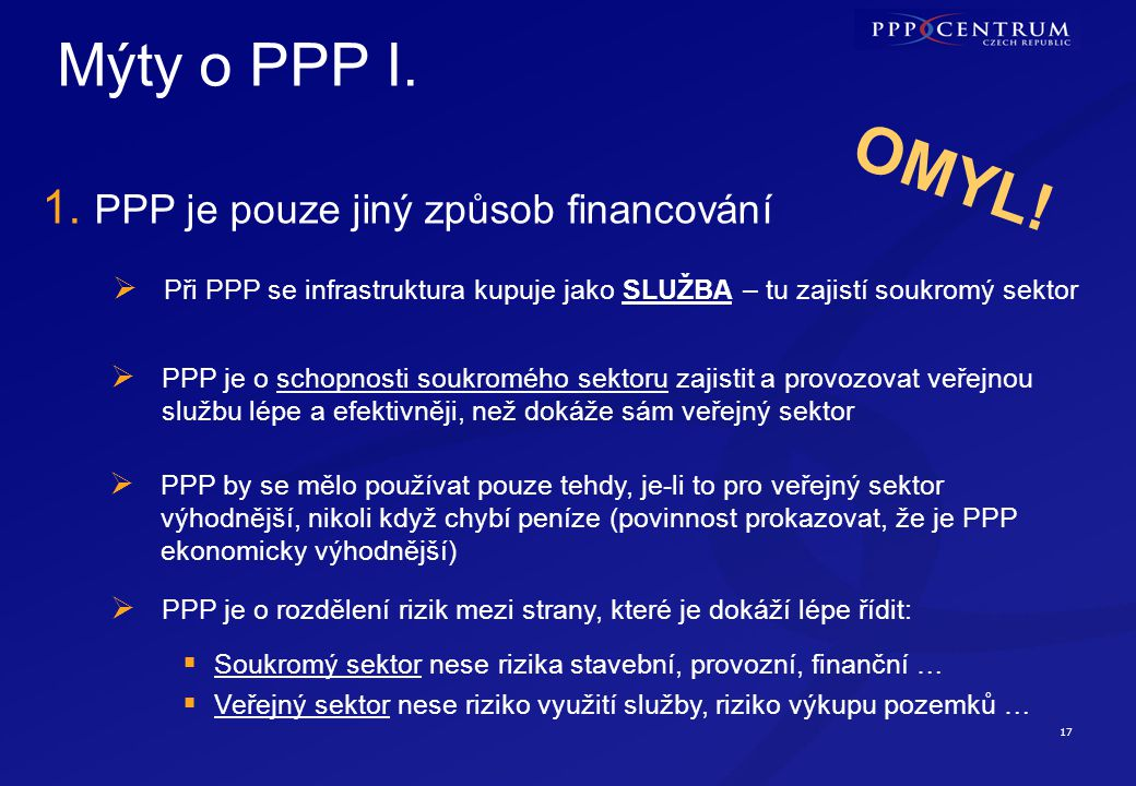 17 Mýty o PPP I. 1. PPP je pouze jiný způsob financování  Při PPP se infrastruktura kupuje jako SLUŽBA – tu zajistí soukromý sektor  PPP je o schopn