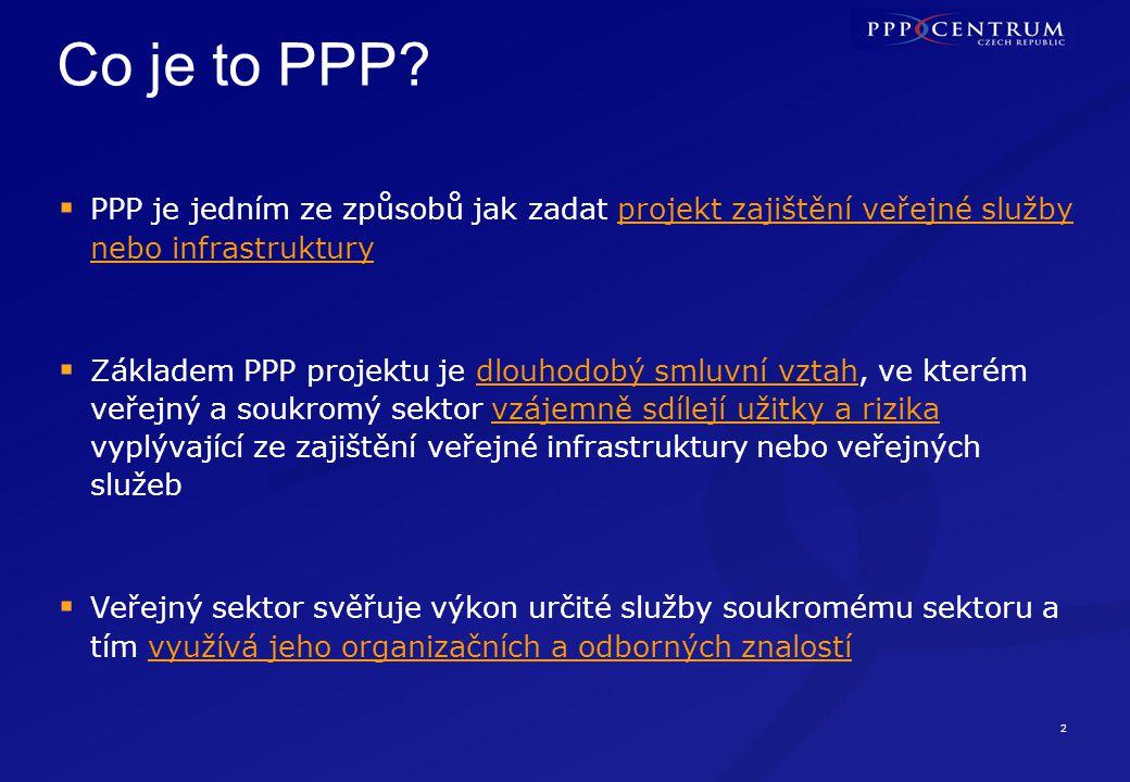 2 Co je to PPP?  PPP je jedním ze způsobů jak zadat projekt zajištění veřejné služby nebo infrastruktury  Základem PPP projektu je dlouhodobý smluvn