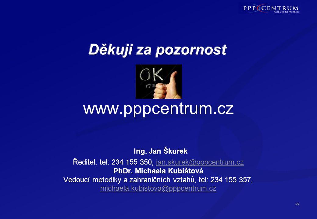 29 www.pppcentrum.cz Ing. Jan Škurek Ředitel, tel: 234 155 350, jan.skurek@pppcentrum.cz PhDr. Michaela Kubištová Vedoucí metodiky a zahraničních vzta