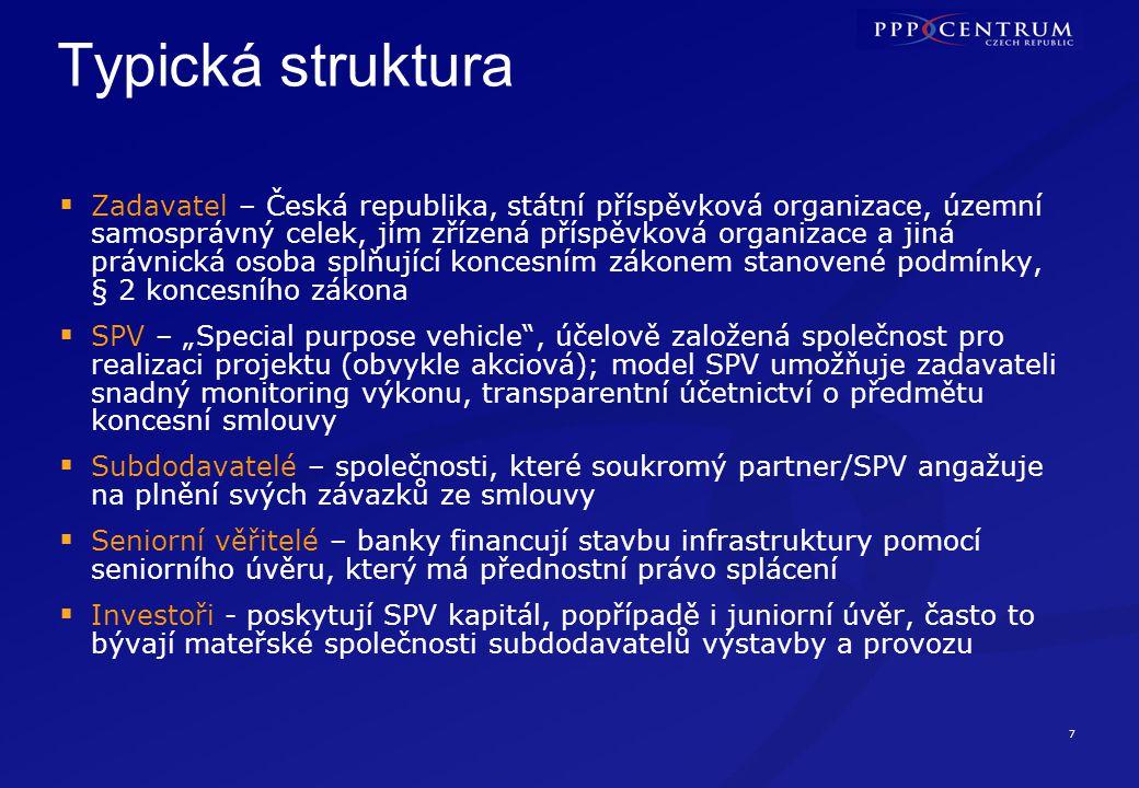 """7 Typická struktura  Zadavatel – Česká republika, státní příspěvková organizace, územní samosprávný celek, jím zřízená příspěvková organizace a jiná právnická osoba splňující koncesním zákonem stanovené podmínky, § 2 koncesního zákona  SPV – """"Special purpose vehicle , účelově založená společnost pro realizaci projektu (obvykle akciová); model SPV umožňuje zadavateli snadný monitoring výkonu, transparentní účetnictví o předmětu koncesní smlouvy  Subdodavatelé – společnosti, které soukromý partner/SPV angažuje na plnění svých závazků ze smlouvy  Seniorní věřitelé – banky financují stavbu infrastruktury pomocí seniorního úvěru, který má přednostní právo splácení  Investoři - poskytují SPV kapitál, popřípadě i juniorní úvěr, často to bývají mateřské společnosti subdodavatelů výstavby a provozu"""