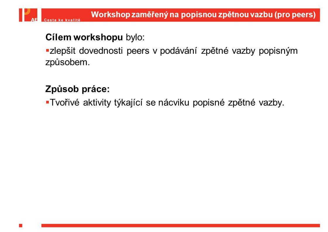 Workshop zaměřený na popisnou zpětnou vazbu (pro peers) Cílem workshopu bylo:  zlepšit dovednosti peers v podávání zpětné vazby popisným způsobem.