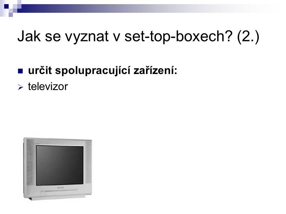 Jak se vyznat v set-top-boxech (2.) určit spolupracující zařízení:  televizor