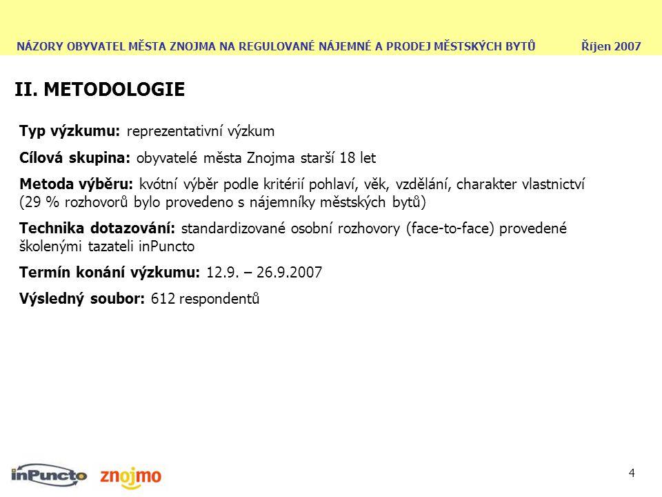NÁZORY OBYVATEL MĚSTA ZNOJMA NA REGULOVANÉ NÁJEMNÉ A PRODEJ MĚSTSKÝCH BYTŮ Říjen 2007 4 II. METODOLOGIE Typ výzkumu: reprezentativní výzkum Cílová sku