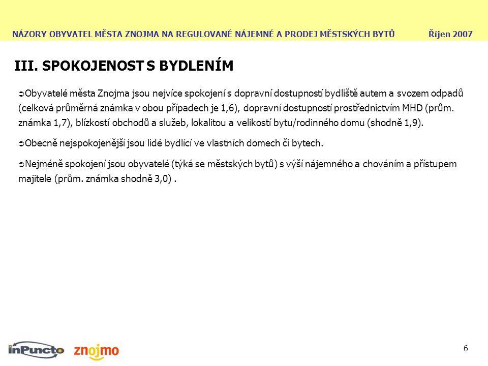 NÁZORY OBYVATEL MĚSTA ZNOJMA NA REGULOVANÉ NÁJEMNÉ A PRODEJ MĚSTSKÝCH BYTŮ Říjen 2007 6 III. SPOKOJENOST S BYDLENÍM  Obyvatelé města Znojma jsou nejv