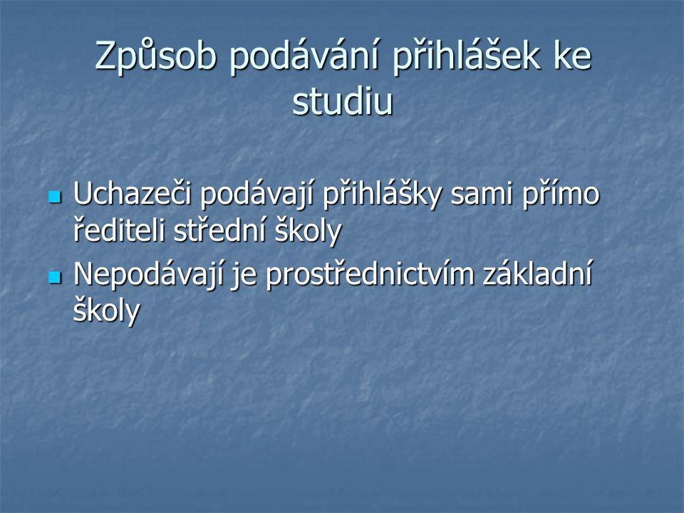 Způsob podávání přihlášek ke studiu Uchazeči podávají přihlášky sami přímo řediteli střední školy Uchazeči podávají přihlášky sami přímo řediteli stře