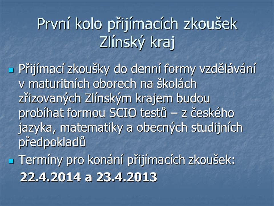 První kolo přijímacích zkoušek Zlínský kraj Přijímací zkoušky do denní formy vzdělávání v maturitních oborech na školách zřizovaných Zlínským krajem b