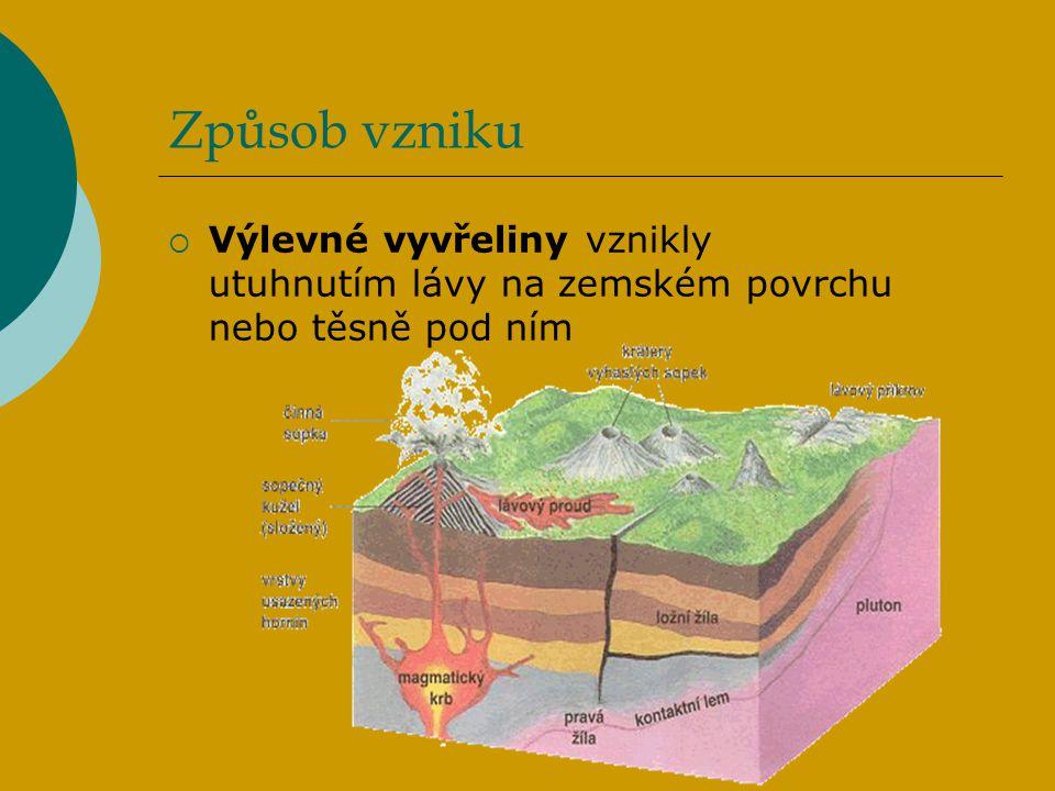 Způsob vzniku  Výlevné vyvřeliny vznikly utuhnutím lávy na zemském povrchu nebo těsně pod ním