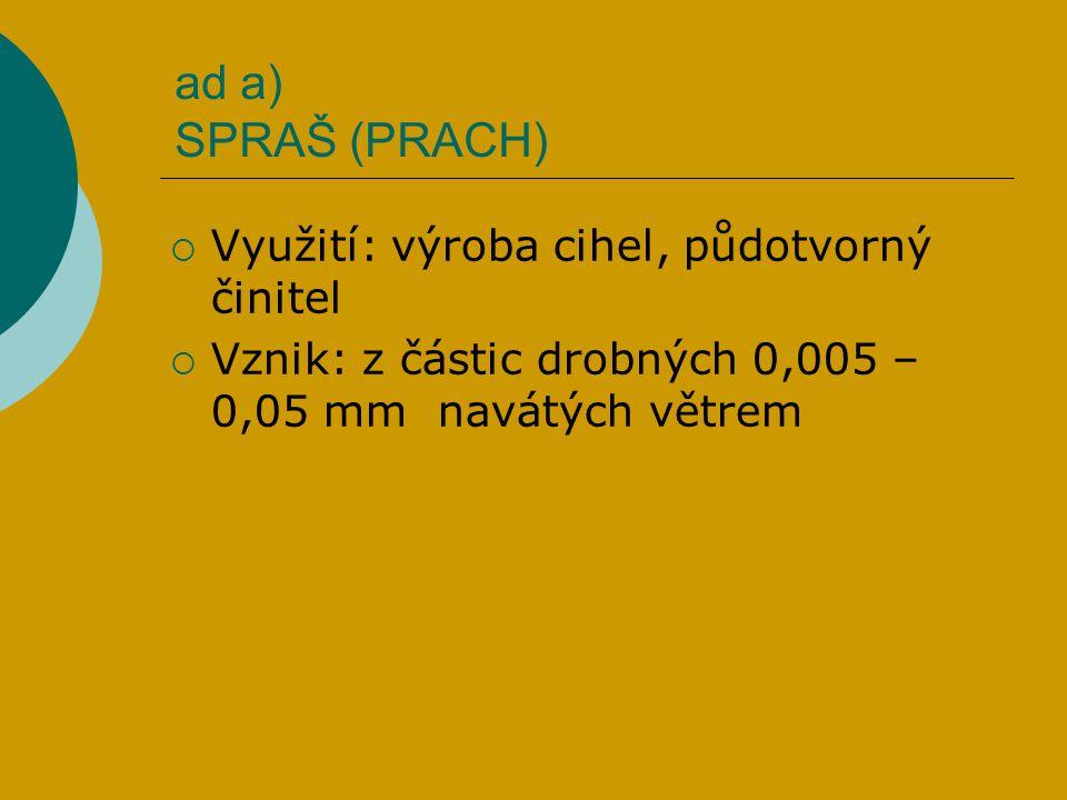 ad a) SPRAŠ (PRACH)  Využití: výroba cihel, půdotvorný činitel  Vznik: z částic drobných 0,005 – 0,05 mm navátých větrem