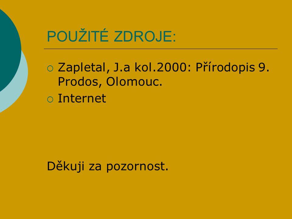 POUŽITÉ ZDROJE:  Zapletal, J.a kol.2000: Přírodopis 9. Prodos, Olomouc.  Internet Děkuji za pozornost.