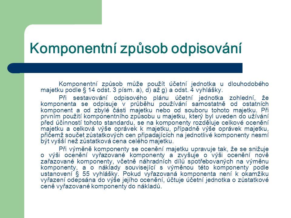 Komponentní způsob odpisování Komponentní způsob může použít účetní jednotka u dlouhodobého majetku podle § 14 odst. 3 písm. a), d) až g) a odst. 4 vy